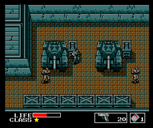 Metal Gear (video game) - Solid Snake avoiding a visual encounter with enemy soldiers (MSX2 version).