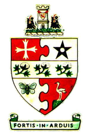 Middleton, Greater Manchester - The coat of arms of the former Middleton Municipal Borough Council, granted by the College of Arms on 28 January 1887. The motto Fortis in Arduis is Latin for Strong in difficulties.