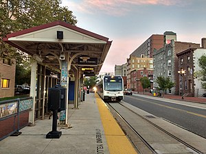 Cooper Street – Rutgers University (River Line station) - Southbound train approaching the station