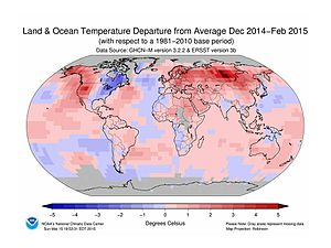 Global temperature - Image: NOAA GLOBAL LAND AND OCEAN TEMP DEPARTURES FROM AVG PAST (1981 2010), FEB 2015