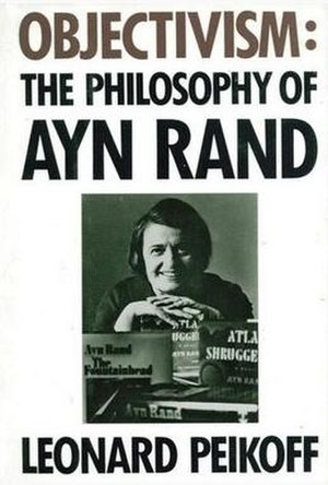 Objectivism: The Philosophy of Ayn Rand - Cover of the first edition, showing photograph of Rand in her New York office, 1974