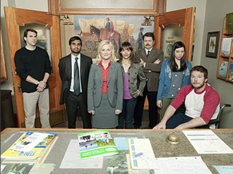 Parks and Recreation - The cast of the first season Parks and Recreation included (from left to right), Paul Schneider, Aziz Ansari, Amy Poehler, Rashida Jones, Nick Offerman, Aubrey Plaza, and Chris Pratt.