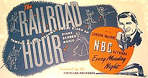 The Railroad Hour - The Railroad Hour ad on a desk blotter.