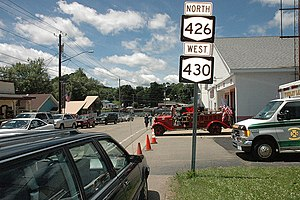 New York State Route 426 - NY 426 runs concurrently with NY 430 in the hamlet of Findley Lake.