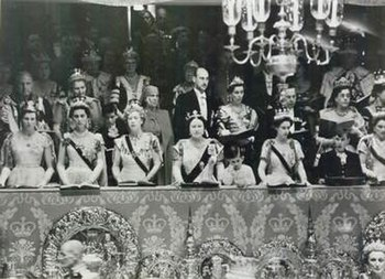 Members of the Royal Family in the Royal box at Westminster Abbey during the Coronation of Queen Elizabeth II.