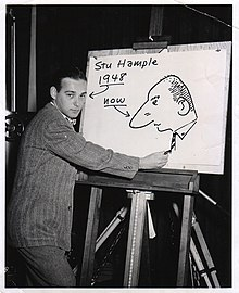 Hample drawing in 1948. The photo was retouched to include the cartoon image of himself at a later date.