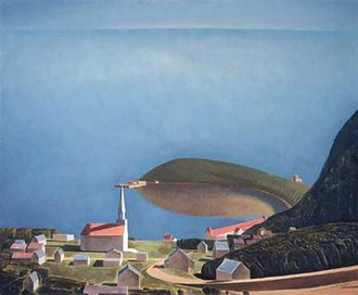 Tadoussac - Painting of Tadoussac by Charles Comfort, including the Old Chapel (1935)