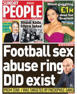 <i>The Sunday People</i> Red top tabloid Sunday newspaper published in London