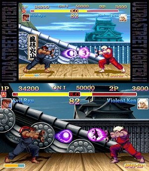 Ultra Street Fighter II: The Final Challengers - A battle in USFII showing Evil Ryu against Violent Ken in the Suzaku Castle stage. Both characters are new to the Street Fighter II roster. The game can be played in the Classic art style (top) and the New Generation/HD art style (bottom).