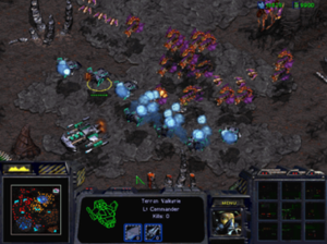 StarCraft: Brood War - Several new units were added for Brood War, such as these UED Valkyrie-class frigates.