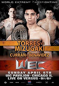 A poster or logo for WEC 40: Torres vs. Mizugaki.