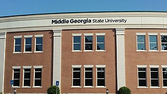 Middle Georgia State University - University lettering atop building on the Dublin Campus.