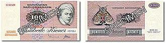 Banknotes of Denmark, 1972 series - 100 kroner note