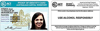 Australian state and territory issued identity photo cards - Sample - the front and back of an ACT Photo Identity Card