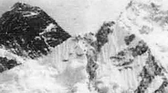 Mount Everest reconnaissance from Nepal - Tilman's photograph (cropped) with South Col not visible and South Pillar (sloping down from top left) obscuring the Southeast ridge