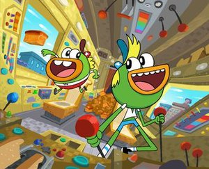 Breadwinners (TV series) -  Buhdeuce (left) and SwaySway (right) in the rocket van.