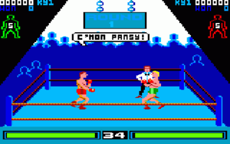 By Fair Means or Foul - In game shot (Amstrad CPC). The red player outline in the top corner indicates Player 2 is being watched by the referee