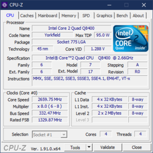 CPU 1.91.0 under Windows 10, showing information about an Intel Core 2 Quad Q8400