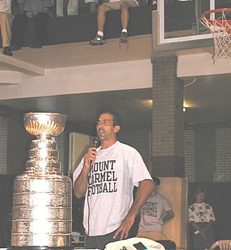 Mount Carmel High School (Chicago) - Chris Chelios visits Mount Carmel, displaying one of the Stanley Cups he won during his NHL career.
