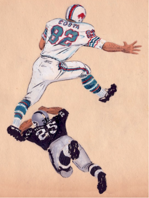 Paul Costa - Costa breaks away against the Raiders, 1965 (original art by AFL archivist A. F. Coniglio)
