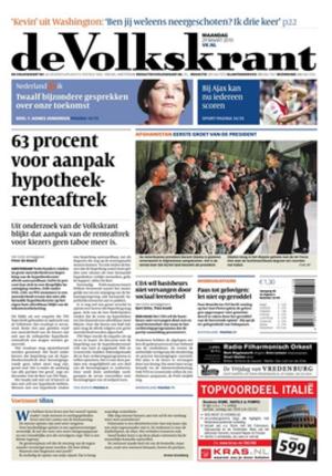 De Volkskrant - Front page of de Volkskrant on 29 March 2010