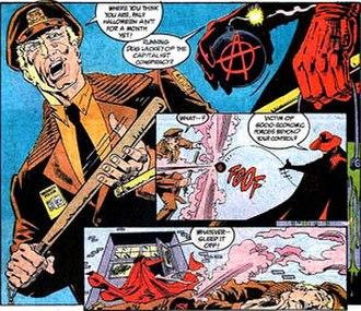 "Batman: Anarky - Anarky assaults a security guard in ""Anarky in Gotham City"".  Illustration by Norm Breyfogle."