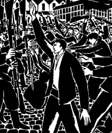 A black-and-white illustration.  A group of workers on the right battles against a gun-wielding group on the left.  In the centre, facing left, a man in the foreground raises his hand.