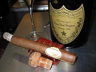 Davidoff - A Cuban-made Davidoff Dom Pérignon with its namesake, Dom Pérignon champagne