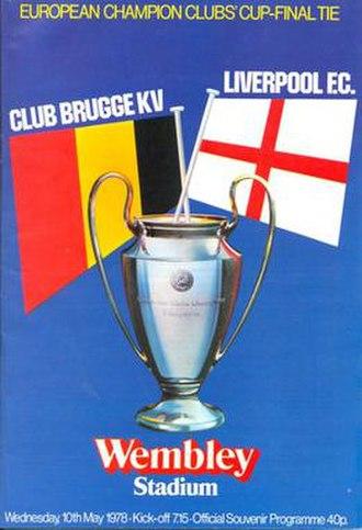 1978 European Cup Final - Match programme cover