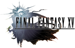 A one-winged woman in flowing robes rests with her head on her arms. Behind her is a crystal sphere twisted around it by a serpentine creature. She rests near the logo of Final Fantasy XV. The piece is done in a pastel watercolor style that fades from silver to blue to black.