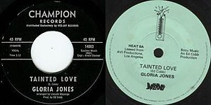 Northern soul - Photograph of the original release (left) and a re-issue copy (right) of Gloria Jones' Tainted Love
