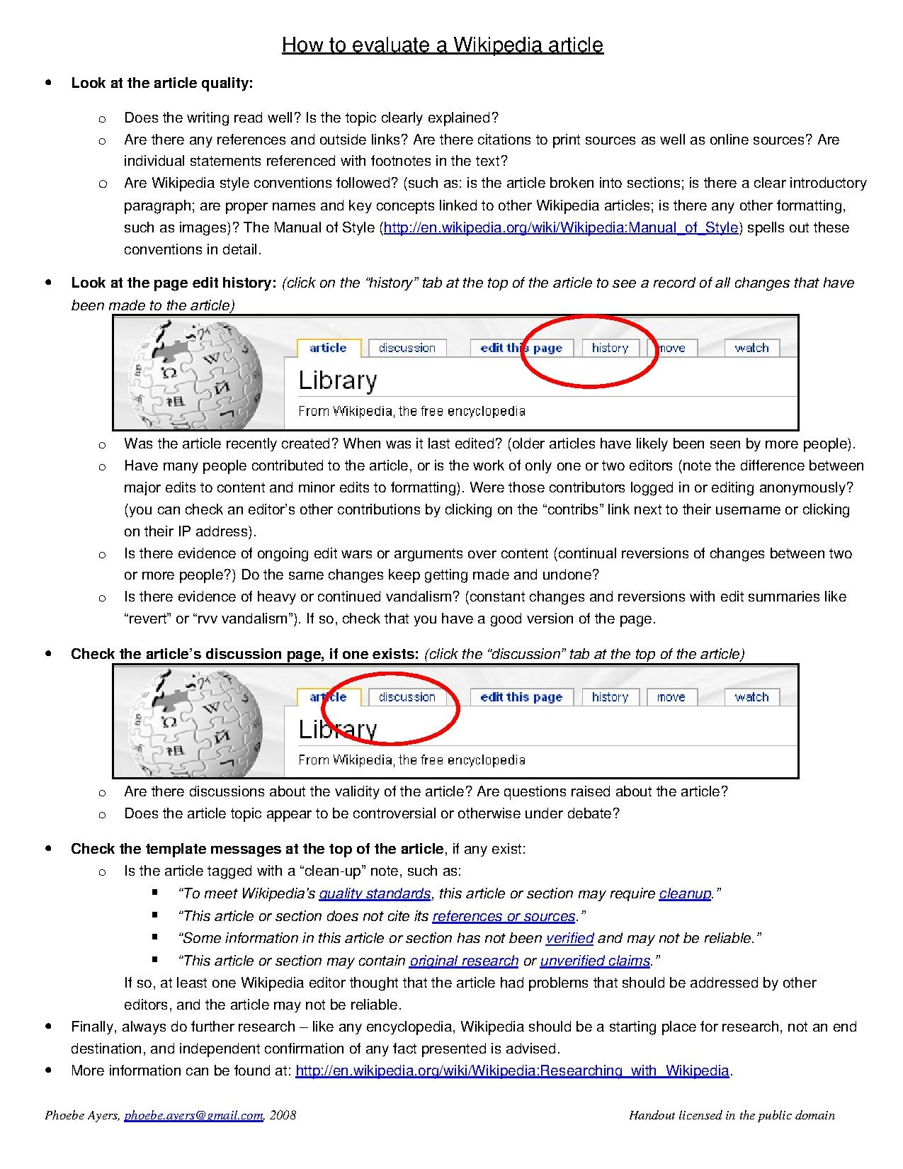 File:How to evaluate a Wikipedia Article (Handout).pdf - Wikipedia