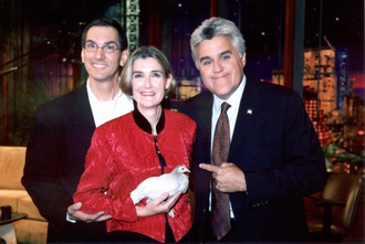 Matilda (chicken) - Following their appearance on The Tonight Show; Keith, Donna, and Matilda pose with Jay Leno. (September 2004)