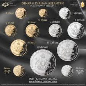 Kelantanese dinar - Kelantan Gold dinar and Silver Dirham Denominations minted by World Islamic Mint in 2010 A.D