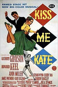 Illustration of a grinning man with upraised hand about to spank a woman in a long skirt, who is lying prone and mock-helpless across his lap, smiling coyly; copy reads: 'Famed stage hit now big color musical! Starring: Kathryn Grayson; Howard Keel; Ann Miller