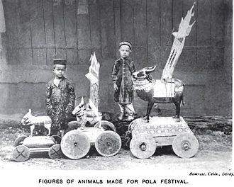 Kunbi - Photograph (1916) of boys with their toy animals crafted for the Pola festival celebrated by the Dhanoje Kunbis.
