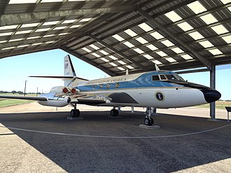 Lockheed JetStar used by President Johnson on display at the Lyndon B. Johnson National Historical Park Lockheed JetStar Air One on Display.jpg