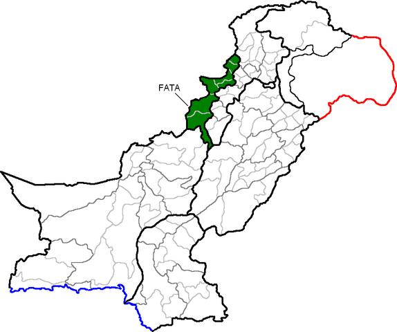 file map of pakistan  with federally administered tribal areas highlighted png