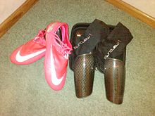 936614fd1 A pair of Nike Mercurial Vapor IV Berry s (left) and Nike Mercurial Blade  Carbon Fiber Shinguards (right).