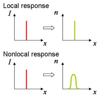 Nematicon - The difference between a nonlocal and a local response. In a local medium a pointwise intensity peak such as a Dirac delta gives rise to an equally sharp spatial response in refractive index. In a nonlocal medium the refractive index change extends well past the source, similar to a diffusive system.