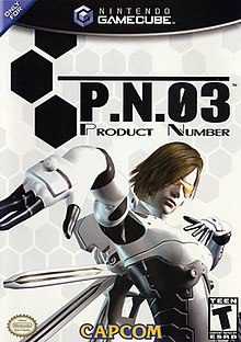 "Artwork of a vertically rectangular box. Depicted in front of a white background is a woman in a white and grey outfit on the right side of the artwork. To the left of her head is title ""P.N.03"" with the words ""Product Number"" below it."