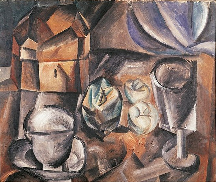 File:Pablo Picasso, 1909, Still Life, Casket, Cup, Apples and Glass, Bologna Gallery of Modern Art.jpg