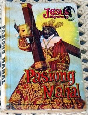 Pasyon - Cover of a typical edition of the Pasyóng Mahál, featuring a depiction of the Black Nazarene of Quiapo.