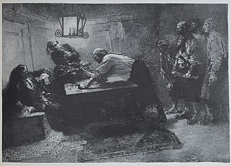 Pierre le Grand (pirate) - Pierre Le Grand catches a Spanish captain off guard in his cabin.  Engraving by Howard Pyle.