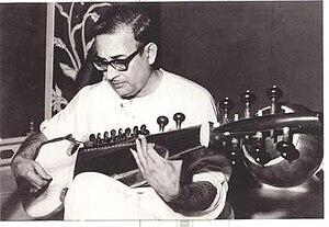 Mohan veena - Radhika Mohan Maitra with his Mohan veena