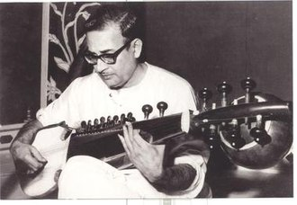 Mohan veena - Radhika Mohan Maitra with his Mohan veena, a modified sarod.