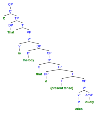 "Resumptive pronoun - Sentence 3A: This syntactic tree of the sentence ""That is the boy that cries loudly"" demonstrates the structure when there is no resumptive pronoun used. To denote a null category, ""ø"" is used."