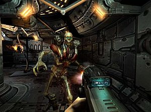 Doom 3 - The player fighting a Revenant in Doom 3. The majority of the game takes place within the futuristic base