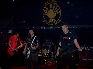 Popular entertainment in Brisbane - Brisbane punk band Run Amok performing at The Alley Bar.