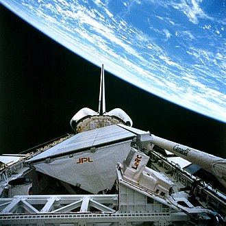 Spaceborne Imaging Radar - SIR-C/X-SAR in the payload bay of space shuttle Endeavour on STS-59, 9 April 1994.